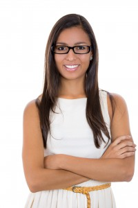 Portrait young business woman with glasses in white dress
